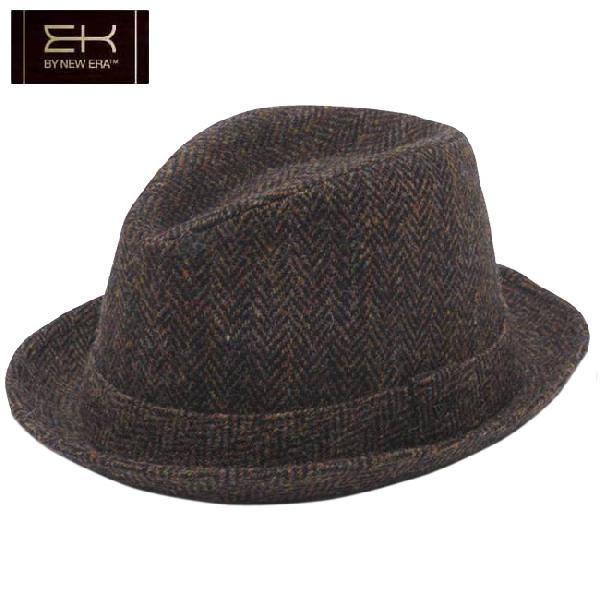 イーケーバイニューエラ ハット シリーズ81 ザ フェドーラ ウール ハリスツイード ブラウン EK by New Era Hat Series 81 The Fedora Wool Harris Tweed Brown|cio
