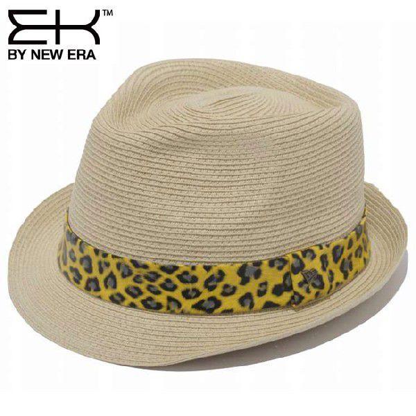 イーケーバイニューエラ ハット ザ トリルビー ペーパーロープ ナチュラル レオパード ゴールド EK by New Era Hat The Trilby Paper Rope Natural Leopard Gold|cio