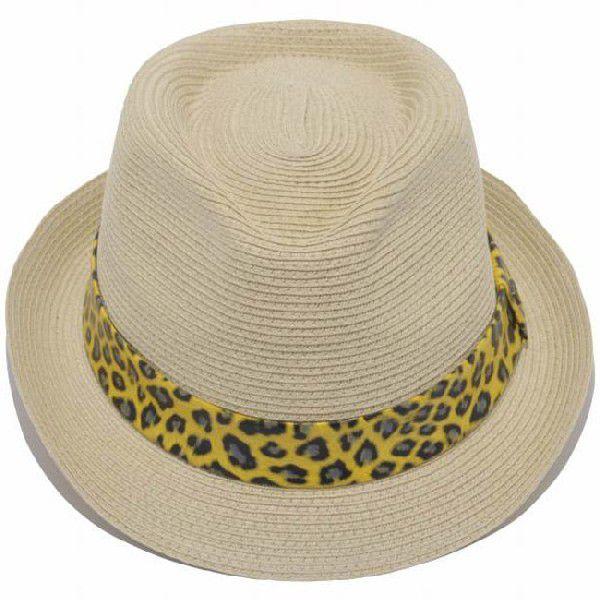 イーケーバイニューエラ ハット ザ トリルビー ペーパーロープ ナチュラル レオパード ゴールド EK by New Era Hat The Trilby Paper Rope Natural Leopard Gold|cio|02