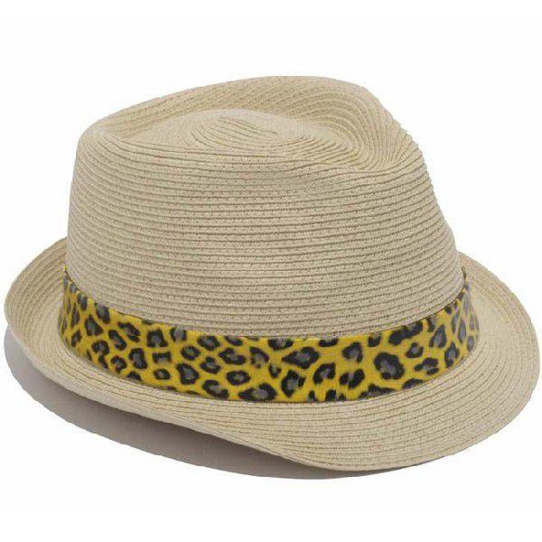イーケーバイニューエラ ハット ザ トリルビー ペーパーロープ ナチュラル レオパード ゴールド EK by New Era Hat The Trilby Paper Rope Natural Leopard Gold|cio|03