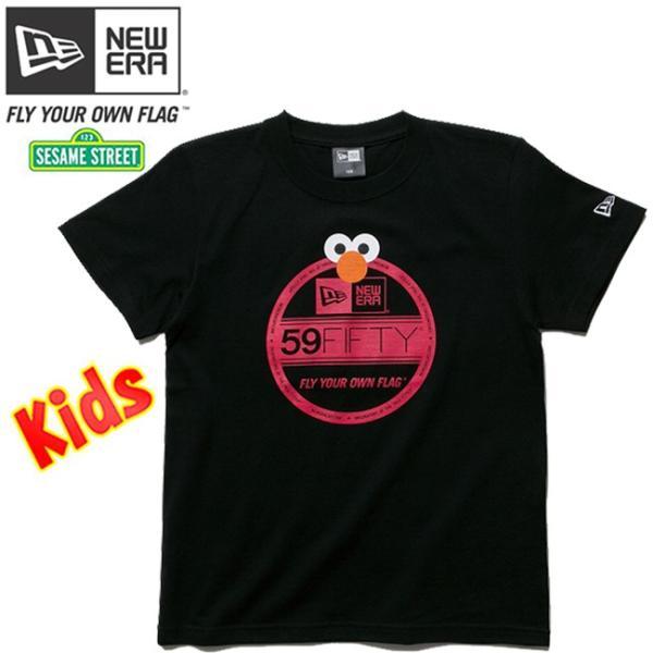 セサミストリート×ニューエラ キッズ S/S Tシャツ コットン ティー バイザーステッカー エルモ Sesame Street×New Era Kids S/S T-Shirts Cotton Tee|cio