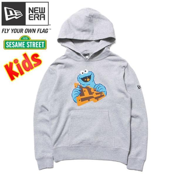 セサミストリート×ニューエラ キッズ スウェット フーディー クッキーモンスター フラッグロゴ グレー Sesame Street×New Era Kids Hoodie Cookie Monster cio