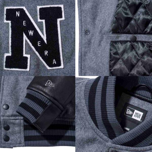 ニューエラ スタジアムジャケット エヌパッチ チャコール ブラック ブラック グレー グレー New Era Stadium Jacket N Patch Charcoal Black Black Gray Gray|cio|03