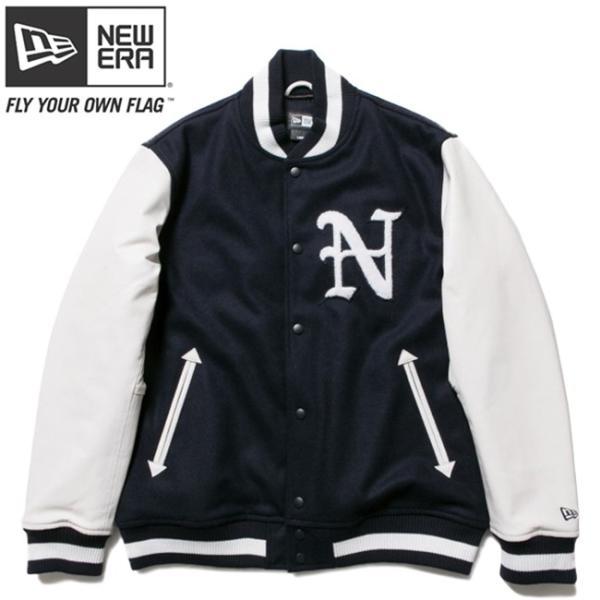 ニューエラ スタジアムジャケット N パッチ ネイビー ホワイト ホワイト ネイビー ネイビー New Era Stadium Jacket N Patch Navy White White Navy Navy|cio