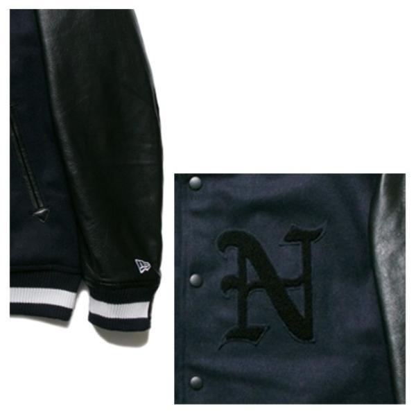 ニューエラ スタジアムジャケット N パッチ ネイビー ブラック ブラック ネイビー ホワイト New Era Stadium Jacket N Patch Navy Black Black Navy White|cio|03