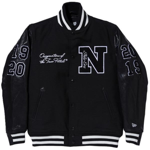 ニューエラ スタジアムジャケット フルパッチ ブラック サガラワッペン ホワイト New Era Stadium Jacket Full Patch Black Chenille Patch White