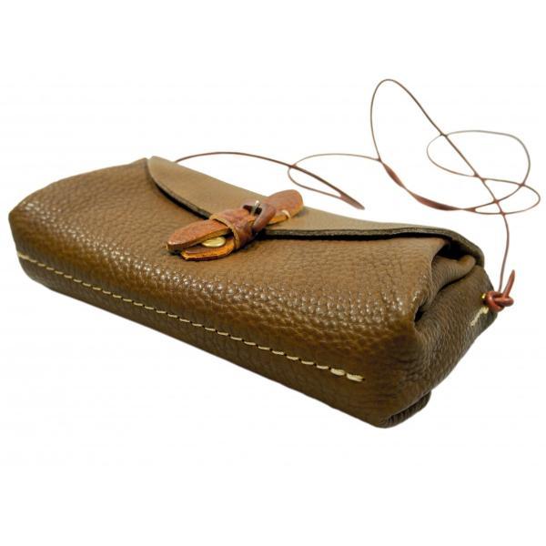 ウッディ ポシェット ウォレット お財布バッグ 本革製 日本製 ナチュラル ショルダーバッグ 軽い 牛革 ギフト