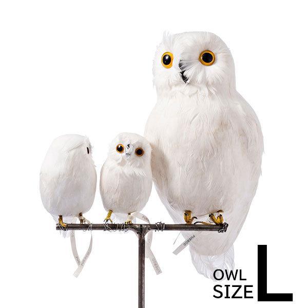 プエブコ PUEBCO バードオブジェ ARTIFICIAL BIRDS 白フクロウ Lサイズ 111070|citron-g