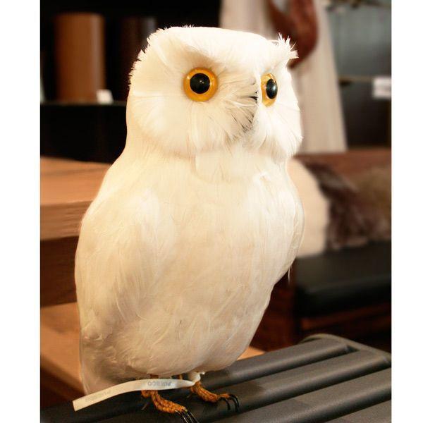 プエブコ PUEBCO バードオブジェ ARTIFICIAL BIRDS 白フクロウ Lサイズ 111070|citron-g|02