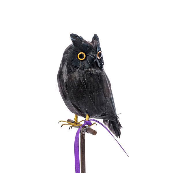 プエブコ PUEBCO バードオブジェ ARTIFICIAL BIRDS 黒フクロウ Sサイズ 横向き 122076 citron-g