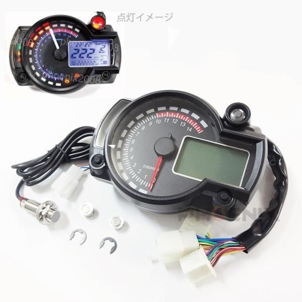 デジタルメーター スピード タコ 15000rpm 赤針 黒パネル 多機能 電気式 液晶 バイク バギー トライク ATV など 汎用|ck-custom