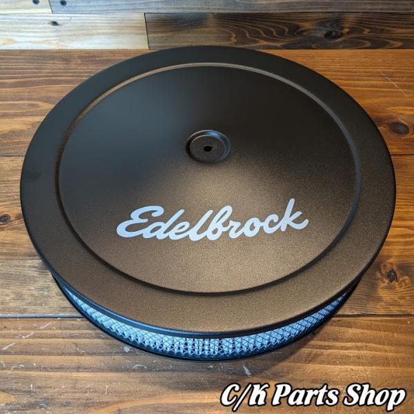 エアクリーナー 73-95y CAB/TBI ブラック 14x3インチフィルター Edelbrockロゴ 1/4