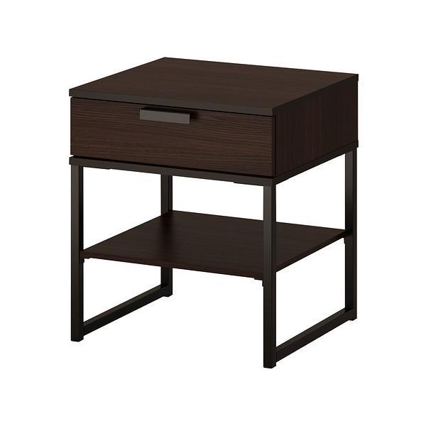 IKEAイケアベッドサイドテーブルダークブラウンブラック黒45x40cmTRYSILb70355747