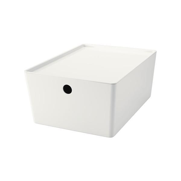 IKEA イケア ふた付きボックス ホワイト 26x35x15 cm d90280204 KUGGIS