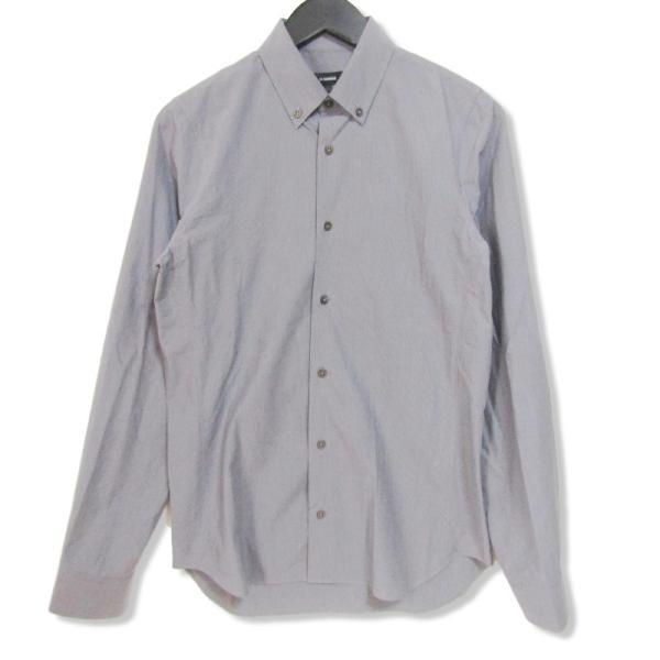JIL SANDER ジルサンダー 長袖ドレスシャツ ストライプ ボタンダウン グレー 14.5 メンズ  中古 27002336|classic