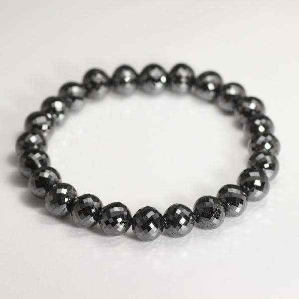 [最高品質]ブラックダイヤモンドブレスレット(約9mm) 天然石 鉱物 パワーストーン 高品質 メンズ レディース 最高級