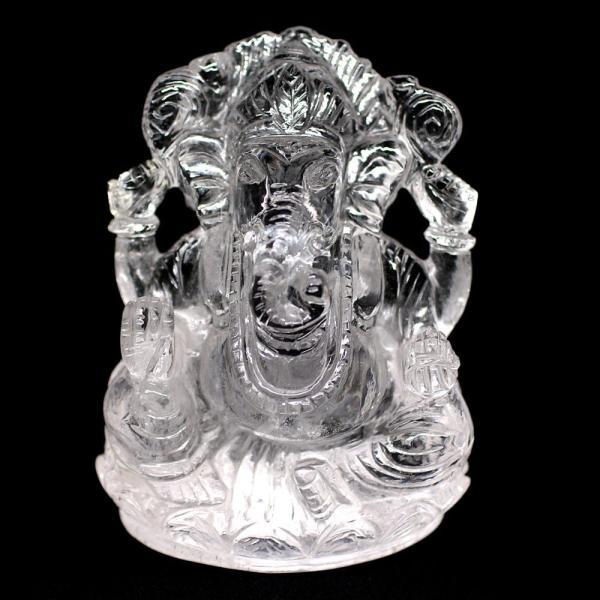 [インド産]ヒマラヤ水晶ガネーシャ像(高さ約10cm) 天然石 パワーストーン 高品質 置物 インテリア