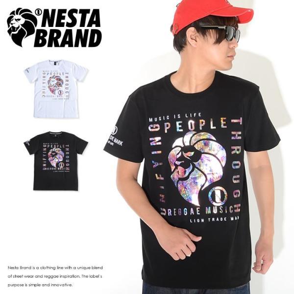 NESTA BRAND ネスタブランド Tシャツ 半袖 ボックステキスト ライオン ホログラムプリント (202NB1011)