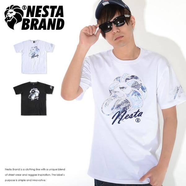 NESTA BRAND ネスタブランド Tシャツ 半袖 ボタニカル柄ライオン 筆記体Nesta (202NB1004)