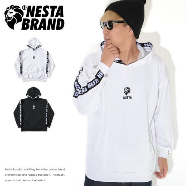 NESTA BRAND ネスタブランド ジップパーカー 半袖 総柄ジャガード 胸ロゴ刺繍 (202NB1300)