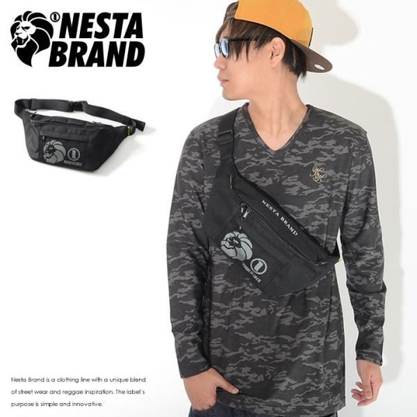 NESTA BRAND ネスタブランド ウエストポーチ ウエストバッグ カバン メッシュポケット 3段ロゴ (NB-003)