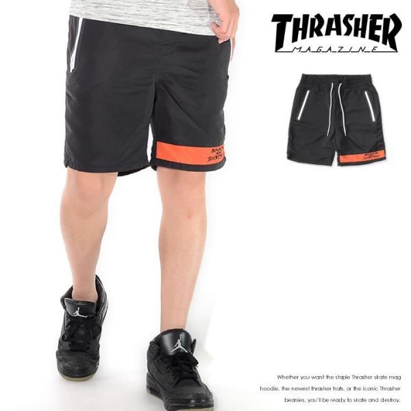 THRASHER スラッシャー ショートパンツ ハーフパンツ 左裾ライン SKATE AND DESTROYロゴ刺繍 *(TH6037) セール