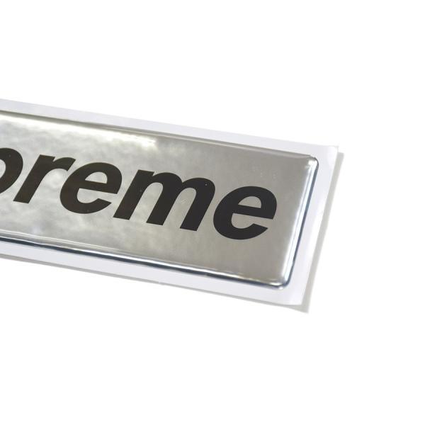 click supreme シュプリーム raised plastic box logo sticker 2017aw レイズド プラスチック ボックス ロゴ ステッカー silver