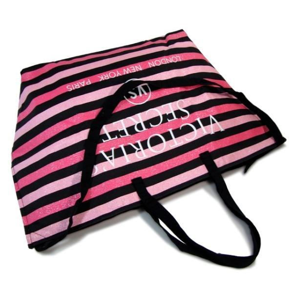 ヴィクトリアシークレット バッグ VICTORIA'S SECRET ビクトリア トートバッグ ハンドバッグ ピンク×ブラック ボーダー|climb-f|03