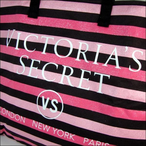 ヴィクトリアシークレット バッグ VICTORIA'S SECRET ビクトリア トートバッグ ハンドバッグ ピンク×ブラック ボーダー|climb-f|05