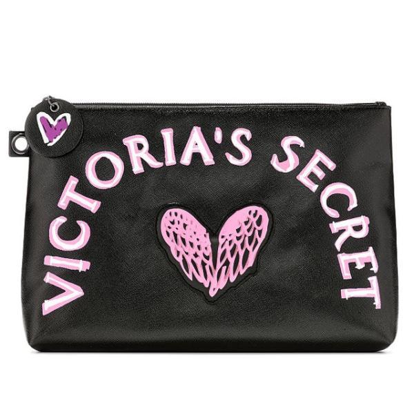 【送料無料】VICTORIA'S SECRET Graffiti Beauty Pouch ヴィクトリアシークレット ポーチ 小物入れ コスメポーチ 大きめ ブラック|climb-f