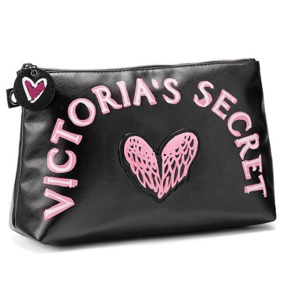 【送料無料】VICTORIA'S SECRET Graffiti Beauty Pouch ヴィクトリアシークレット ポーチ 小物入れ コスメポーチ 大きめ ブラック|climb-f|02