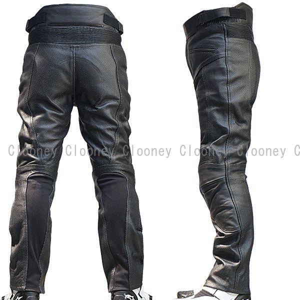【Clooney】 MP08 本革 パンチングレザーパンツ メッシュ 牛革  ブーツアウト メンズ 革パンツ|clooney-store|02