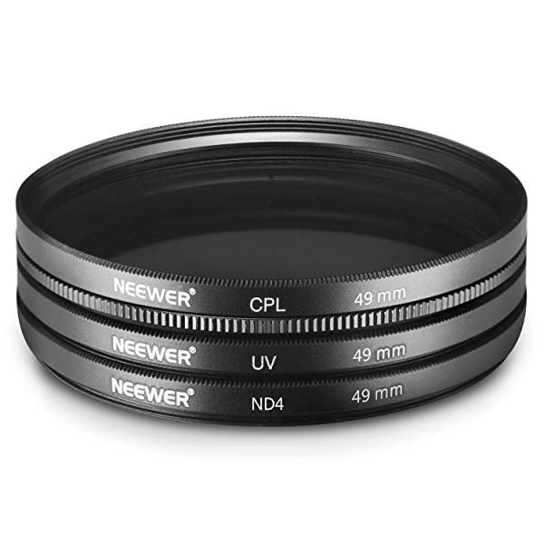49MMレンズフィルターセット:UVフィルター+CPLフィルター+ND4フィルター+フィルター袋+クリーニングクロス 18-55MM、55-210MM ...|clorets|08
