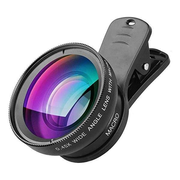 携帯電話カメラレンズ 2イン1 クリップオンレンズキット 0.45X 超広角 & 12.5X マクロ携帯カメラレンズ iPhone 8 7 6s 6 Plus 5s...
