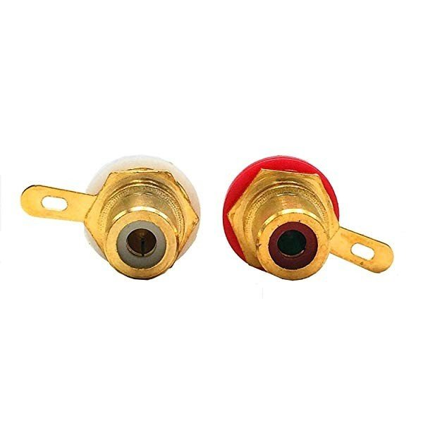 RCAメスコネクタ 真鍮 金メッキ ジャックソケット 接続コネクター 赤6 白6 (12個入) 送料無料
