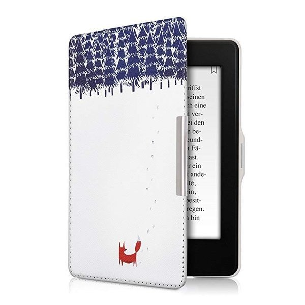 送料無料 フリップ人工皮革ケース 雪のきつねデザイン Amazon Kindle Paperwhite用 茶色青色白色 clorets