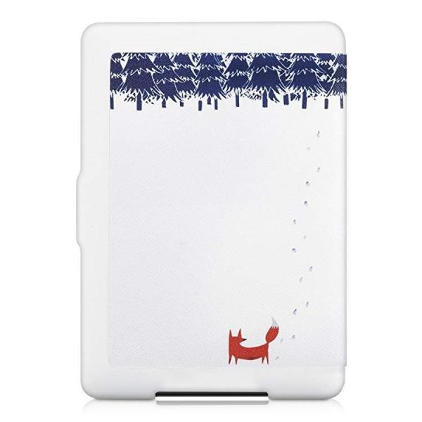 送料無料 フリップ人工皮革ケース 雪のきつねデザイン Amazon Kindle Paperwhite用 茶色青色白色 clorets 03
