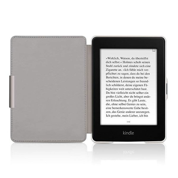 送料無料 フリップ人工皮革ケース 雪のきつねデザイン Amazon Kindle Paperwhite用 茶色青色白色 clorets 04