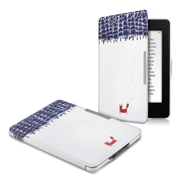 送料無料 フリップ人工皮革ケース 雪のきつねデザイン Amazon Kindle Paperwhite用 茶色青色白色 clorets 05