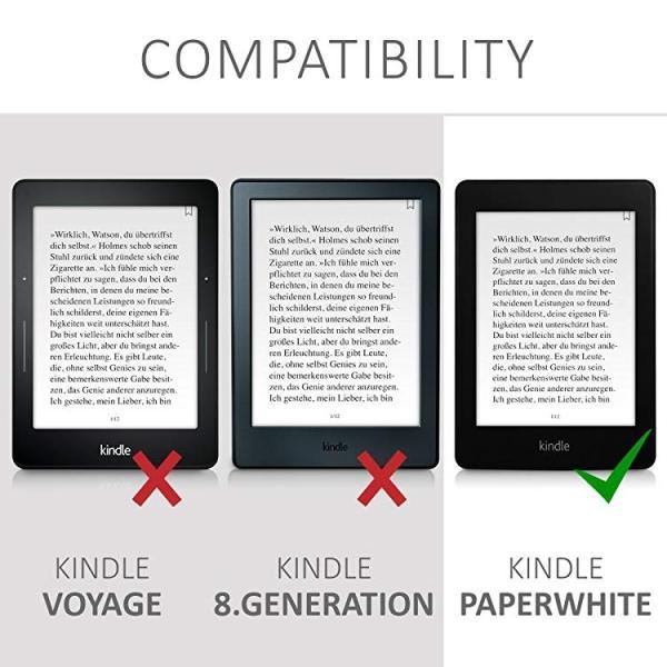 送料無料 フリップ人工皮革ケース 雪のきつねデザイン Amazon Kindle Paperwhite用 茶色青色白色 clorets 06