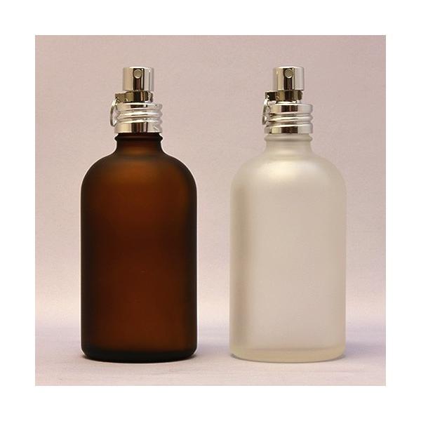 ガラスボトル半透明&茶色100ml 遮光瓶 アルミスプレー付 フロスト加工詰替え  クリップ付き|clover-m-store