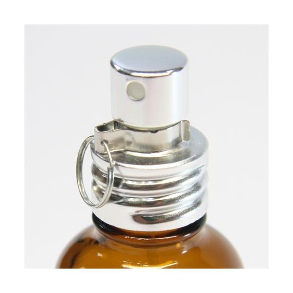 ガラスボトル半透明&茶色100ml 遮光瓶 アルミスプレー付 フロスト加工詰替え  クリップ付き|clover-m-store|02