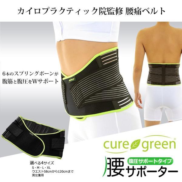 cure green 腰痛ベルト コルセット カイロプラクティック院監修の腰サポーター 骨盤 矯正 介護 男性用 女性用 腹圧サポートタイプ|cloverone|02