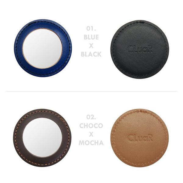 レザーコンパクトミラー ミニミラー 携帯ミラー ポケットサイズ 手のひらサイズ 丸型 鏡 本革 日本製 エチケット メンズ レディース シールアル 名入れ可|cluar|02