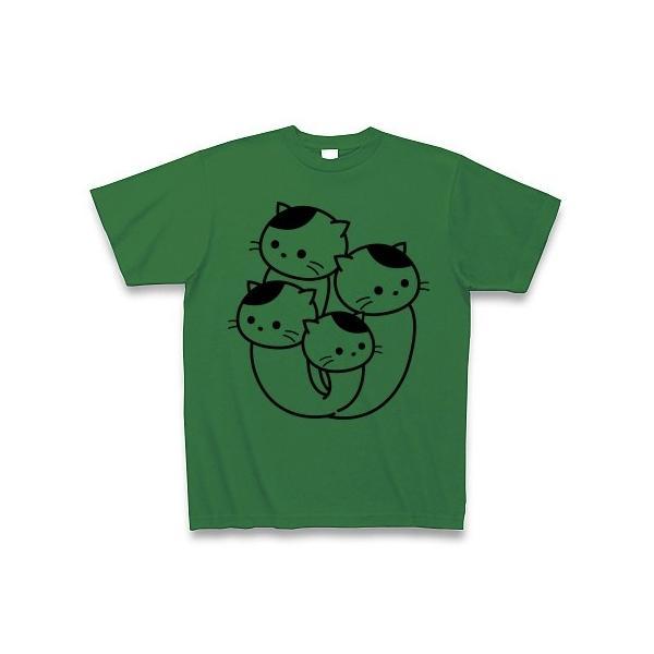 ぶなしめじねこ Tシャツ(グリーン)