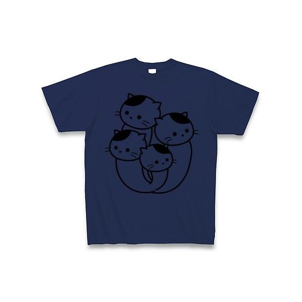 ぶなしめじねこ Tシャツ(ジャパンブルー)