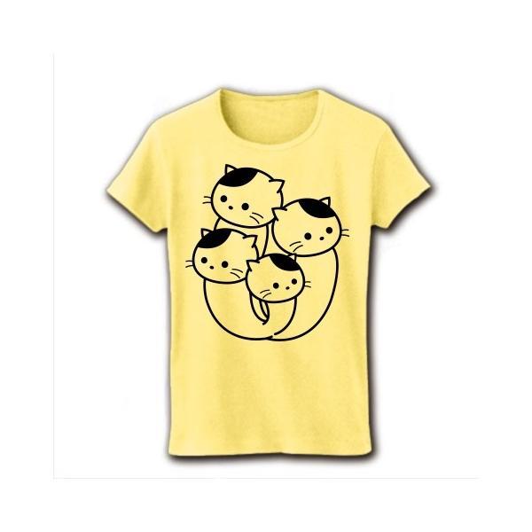 ぶなしめじねこ リブクルーネックTシャツ(ライトイエロー)