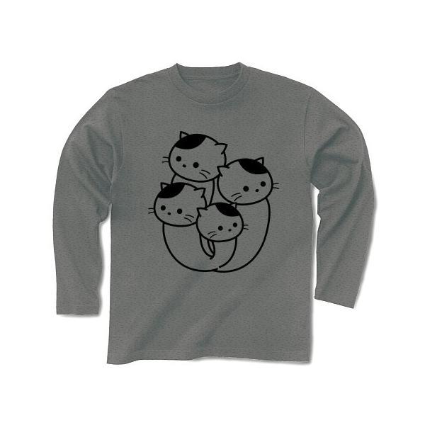 ぶなしめじねこ 長袖Tシャツ(グレー)