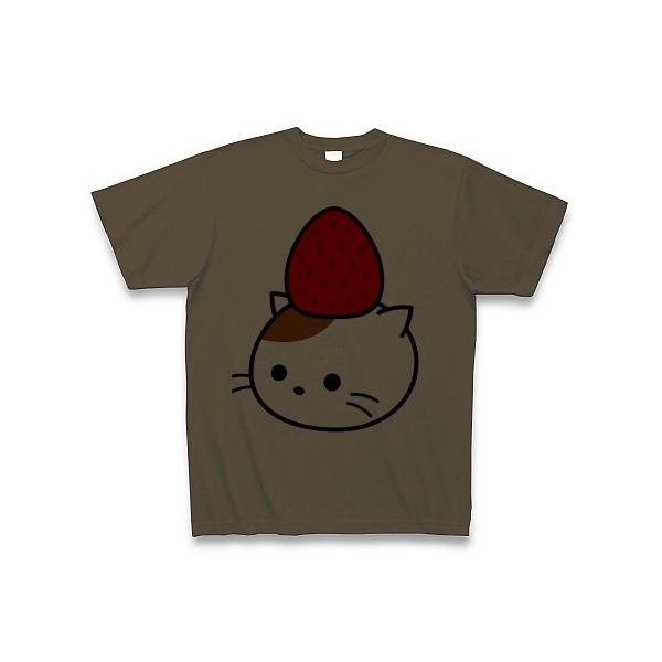 チョコソース添えショートケーキねこ Tシャツ(オリーブ)