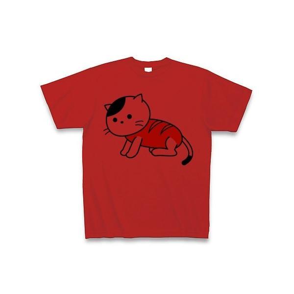 「猫さんウインナー」ねこ Tシャツ(レッド)